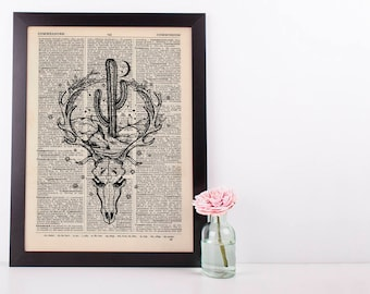 Skull Western Cactus in Dictionary Art Print Vintage Alternative Plant Hipster