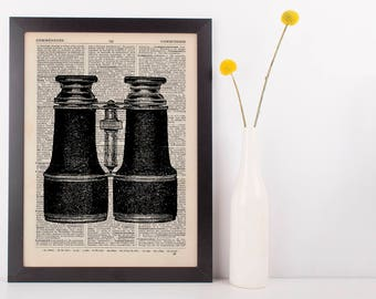 Binoculars Dictionary Art Print Vintage Hipster Antique