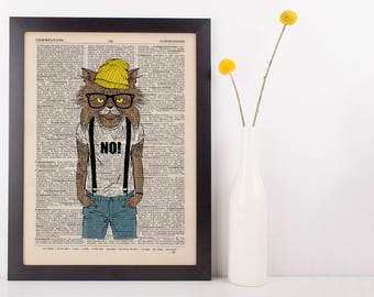 Braces and Beanie Cat Dictionary Art Print Wall Vintage Picture Animal Clothes