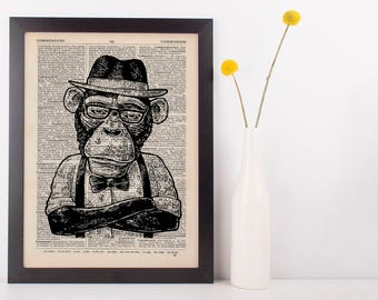 Monkey Hat Dictionary Art Print Animals Clothes Anthropomorphic