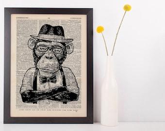 Monkey Hat Dictionary Art Print Animals Clothes Anthropomorphic