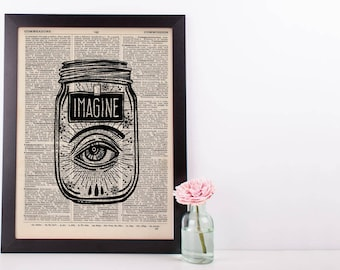 Surreal Imagine Eye Jar Dictionary Print