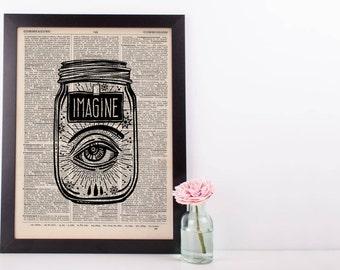 Surreal Imagine Eye Jar Dictionary Print