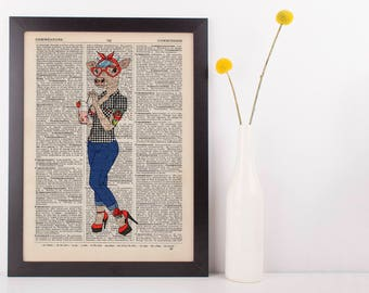 50's Rockabilly Cow Dictionary Art Print Wall Vintage Picture Animal in Clothing