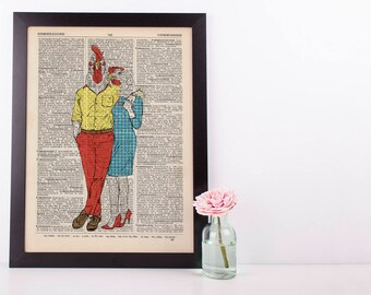 Mr and Mrs Rooster Hen Couple Dictionary Art Print Vintage Animal In Clothes Mr & Mrs