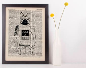 Bulldog Man Dictionary Art Print Animals Clothes Anthropomorphic