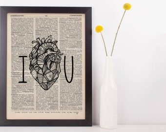 I Heart You Dictionary Print