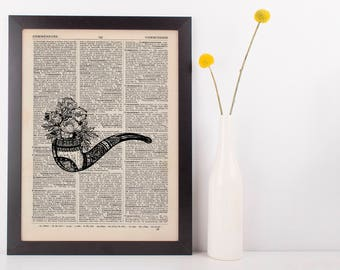 Flower Pipe Dictionary Illustration Art Print Vintage Alternative Nautical