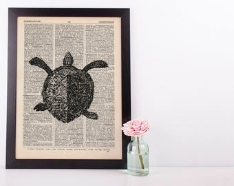 Sea turtle Dictionary Illustration Art Print Vintage Sea Life Nautical