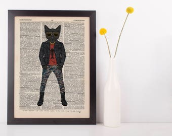 Rocking Cat Dictionary Wall Picture Art Print Vintage Animal In Clothes