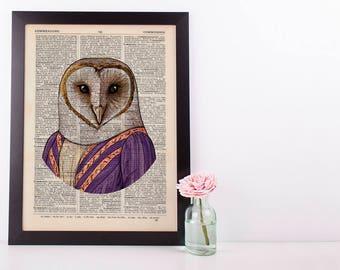 Regal owl Dictionary Art Print Animals Clothes Anthropomorphic