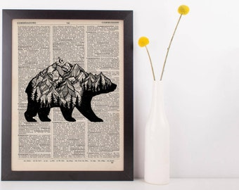 Mountain Bear Dictionary Print