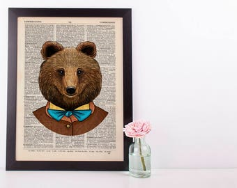 Bear with a Blue Bow tie Dictionary Art Print Animals Clothes Anthropomorphic