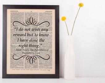 I do not wish any reward Dictionary Art Print Book Gift Quote Mark Twain