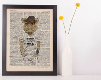 Boar Born to be wild Dictionary Art Print Wall Vintage Picture Animal in Clothes