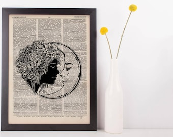 Kissing Moon Dictionary Print