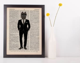 Pug in a Suit Dictionary Wall Picture Art Print Vintage Animal In Clothes