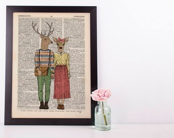 Deer Couple Dictionary Wall Decor Art Print Vintage Animal In Clothes Mr & Mrs