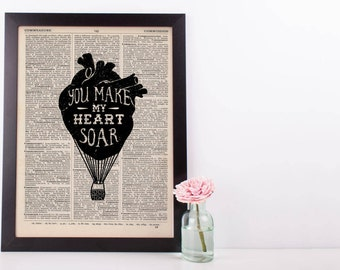 You Make My Heart Soar Hot AIr Balloon Dictionary Print