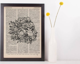 Floral Geometric Face Dictionary Print