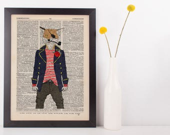 Captain Fox Dictionary Art Print Animals as Humans Anthropomorphic Nautical Sea