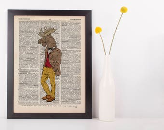 Moose Gent Print Dictionary Wall Picture Art Print Vintage Animal In Clothes