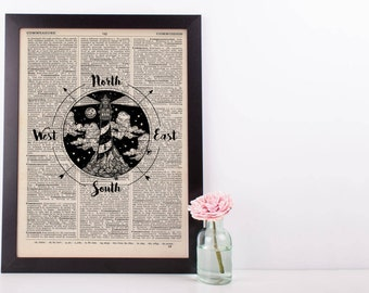 Lighthouse Compass Dictionary Print