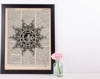 Wind Moon Mountains Mandala Dictionary Print