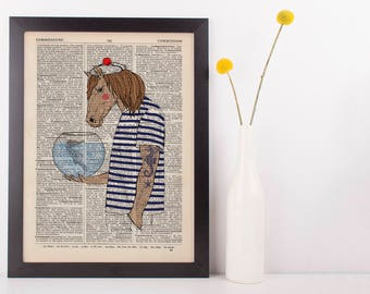 Horse Seahorse Dictionary Art Print Animals Humans Anthropomorphic Nautical Sea