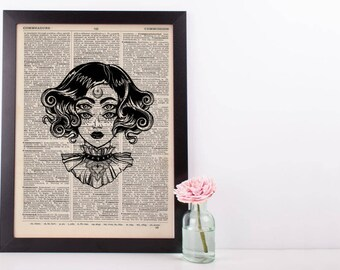 Surreal Moon Eyes Steampunk Dictionary Print