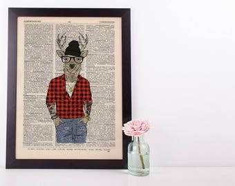 Deer Hipster Boy Dictionary Art Print Wall Vintage Picture Animal in Clothes