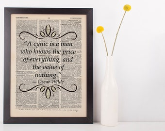 A Cynic Is a Man Who Knows, Dictionary Art Print Literary, Book Oscar  Wilde