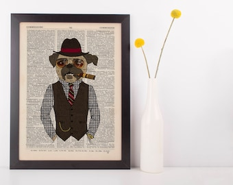 French bulldog with a cigar Dictionary Art Print Vintage Animal in Clothes