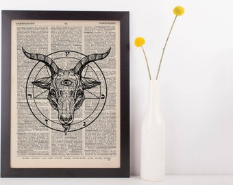 Buy 2 Get 1 Free Using Code 3for2, Baphomet Pentagram Circle Dictionary Print