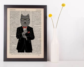 Wolf in a Tux Dictionary Wall Picture Art Print Vintage Animal In Clothes