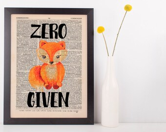 Zero Fox Given Dictionary Print Art Vintage Funny Rude Swear Pun