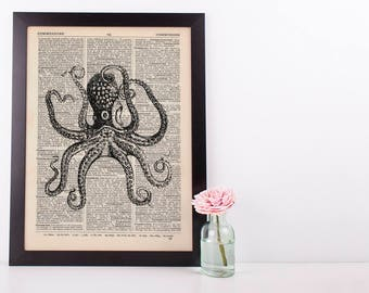 Octopus Tentacles 2 Dictionary Illustration Art Print Vintage Sea Nautical