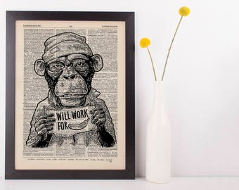Monkey Work for Banana Dictionary Art Print Animals Clothes Anthropomorphic