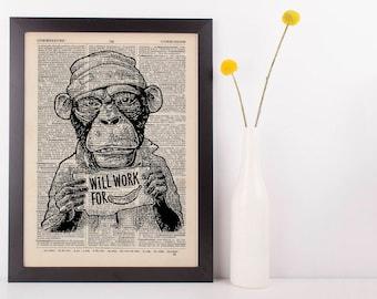 Monkey Work for Banana Dictionary Art Print Animals Clothes Anthropomorphic