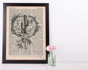 Western Cactus Skull Dreamcatcher Dictionary Art Print Vintage Plant Hipster