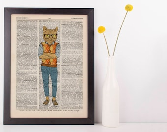 Cat in a Vest Dictionary Art Print Wall Vintage Picture Animal In Clothes