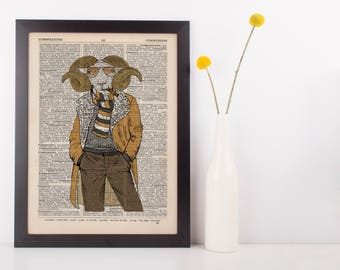 Mutton Dressed Print Dictionary Wall Picture Art Print Vintage Animal In Clothes