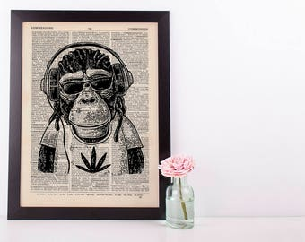 Jamaican Monkey Dictionary Art Print Set Animals Clothes Anthropomorphic Human