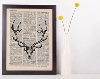 Large Antler Deer Skull Illustration Dictionary Art Print Vintage Hipster Antique