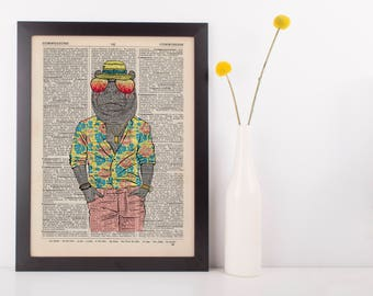 Summer Hippo Dictionary Wall Picture Art Print Vintage Animal In Clothes