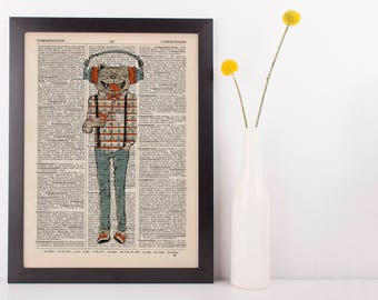 Pug in Headphones Dictionary Art Print Animals Anthropomorphic Clothes Dressed