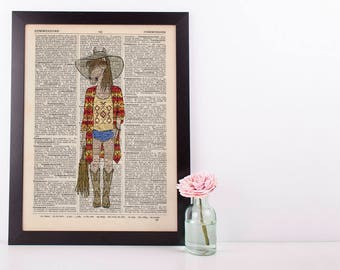 Boho Horse Dictionary Art Print Wall Vintage Picture Animal in Clothes