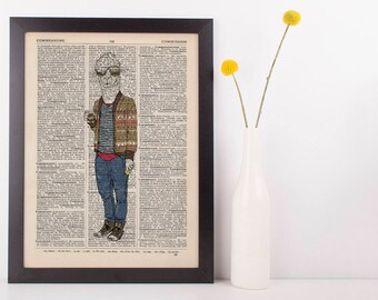 Alpaca In a Cardigan Dictionary Art Print Wall Vintage Picture Animal in Clothes