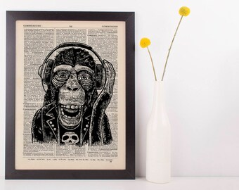 Rocker Monkey Dictionary Art Print Animals Clothes Anthropomorphic Funny