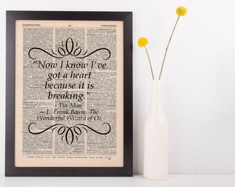 Now I know I've got a heart Dictionary Art Print Frank L Baum Wizard of Oz